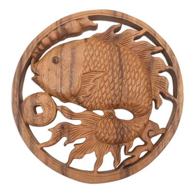 Handcrafted Suar Wood Goldfish Relief Panel from Bali