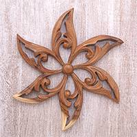 Wood relief panel, 'Razor Petals' - Hand-Carved Floral Suar Wood Relief Panel from Bali
