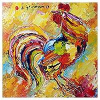 'Fighter I' (2017) - Signed Expressionist Painting of a Rooster (2017) from Bali