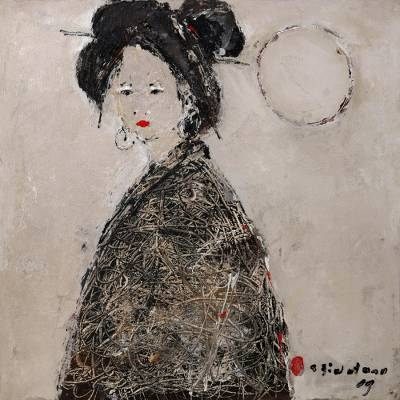 'Japanese Lady with the Moon' (2009) - Signed Painting of a Japanese Lady (2009) from Bali