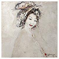 'Smiles and Sights' (2009) - Signed Painting of a Japanese Woman (2009) from Bali