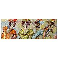 'Four Ladies' (2013) - Expressionist Painting of Four Women (2013) from Bali