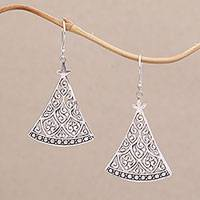 Sterling silver dangle earrings, 'Curtain Vines' - 925 Sterling Silver Triangle Open Work Dangle Earrings