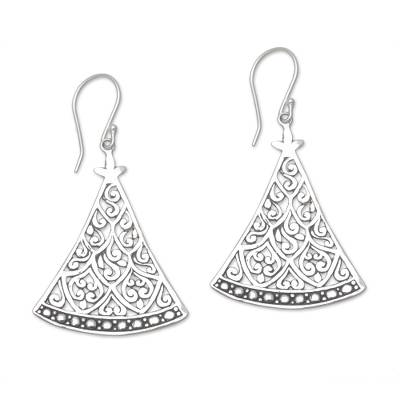 Sterling silver dangle earrings, 'Curtain Vines' - 925 Sterling Silver Triangle Open Work Dangle Earrings