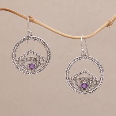 Novica Sterling silver dangle earrings, Circle Garden