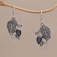 Onyx dangle earrings, 'Royal Plum' - Sterling Silver Leaf and Vine with Faceted Onyx Earrings