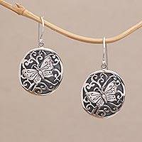 Sterling silver dangle earrings, 'Butterfly Miracle' - Sterling Silver Butterfly Oval Dangle Earrings