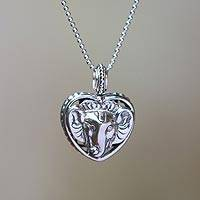 Sterling silver pendant necklace, 'Ganesha's Heart' - 925 Sterling Silver Lord Ganesha Heart Pendant Necklace