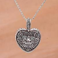 Sterling silver pendant necklace, 'Guardian Heart'