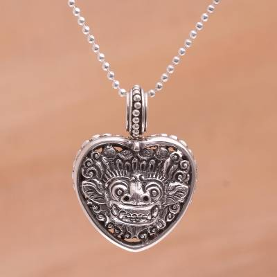Sterling silver pendant necklace, 'Guardian Heart' - 925 Sterling Silver Guardian Heart Pendant Necklace