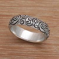 Sterling silver band ring, 'Destiny Engraved' - 925 Sterling Silver Swirling Fern Band Ring from Indonesia