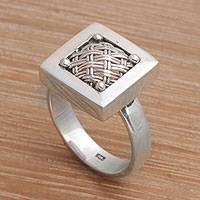 Sterling silver cocktail ring, 'Weaving Ketupats'