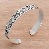 Sterling silver cuff bracelet, 'Fern Majesty' - 925 Sterling Silver Forest Fern Cuff Bracelet of Indonesia