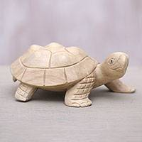 Wood statuette, 'Papa Terrapin' - Wood Terrapin Turtle Statuette Hand Carved in Bali