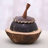 Coconut shell decorative box, 'Coco Keeper' - Coconut Shell Decorative Box Hand Carved in Bali