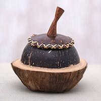 Coconut shell decorative box, 'Coco Keeper' - Coconut Shell Decorative Box Hand Carved in Bali
