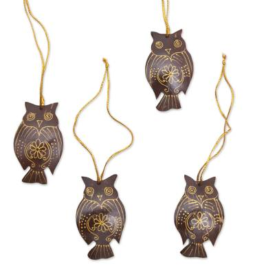Coconut shell ornaments, 'Hanging Owls' (set of 4) - Set of 4 Javanese Coconut Shell Owl Figure Ornaments