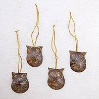 Coconut shell ornaments, 'Watchful Owls' (set of 4) - Set of Javanese Handmade Coconut Shell Owl Figure Ornaments