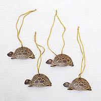 Coconut shell ornaments, 'Royal Turtle' (set of 4) - Set of 4 Handmade Brown Coconut Shell Turtle Ornaments