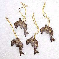 Coconut shell ornaments, 'Dolphin Echo' (set of 4) - Set of 4 Handmade Brown Coconut Shell Dolphin Ornaments
