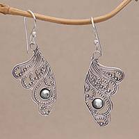 Sterling silver dangle earrings, 'Emperor Wings' - Butterfly Wing Sterling Silver Dangle Earrings from Bali