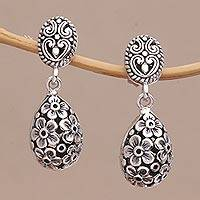 Sterling silver dangle earrings, 'Jasmine Shell' - Sterling Silver Jasmine Flower Dangle Earrings from Bali