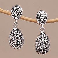 Sterling silver dangle earrings, 'Jasmine Shell' - Sterling Silver Jasmine Flower Dangle Earrings from Bali