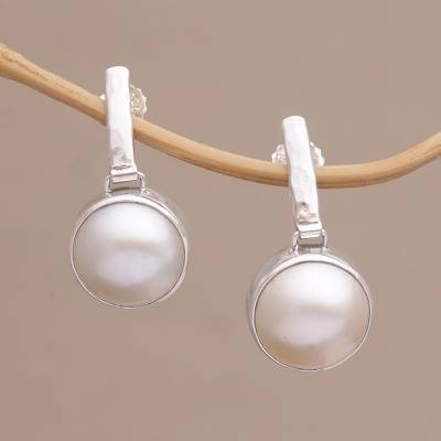 Cultured pearl dangle earrings, 'Ethereal Shimmer' - Cultured Mabe Pearl Dangle and Sterling Silver Earrings