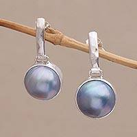Cultured pearl dangle earrings, 'Ethereal Shimmer in Blue' - Cultured Mabe Pearl Dangle and Sterling Silver Earrings