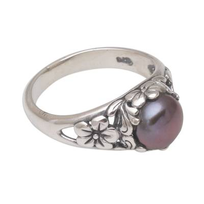 Cultured Freshwater Pearl Sterling Silver Solitaire Ring