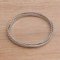 Sterling silver bangle bracelets, 'Elegant Trio' - Linked Sterling Silver Bangle Bracelets Crafted in Bali