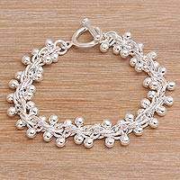Sterling silver link bracelet, 'Orbs of Wonder' - Artisan Crafted Sterling Silver Link Bracelet from Bali