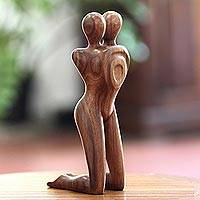 Wood statuette, 'Love in Love' - Artisan Crafted Romantic Wood Sculpture