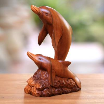 Wood sculpture, 'Dolphin Generation' - Carved Wood Sculpture