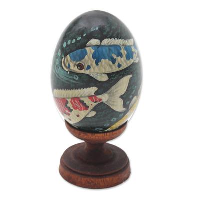 Egg-Shaped Albesia Wood Koi Fish Sculpture from Bali