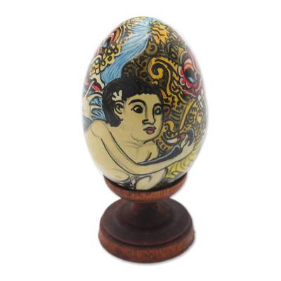 Wood sculpture, 'Calon Arang' - Egg-Shaped Albesia Wood Witch Sculpture from Bali
