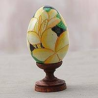Wood sculpture, 'Jepun World' - Egg-Shaped Albesia Wood Frangipani Sculpture from Bali