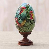 Wood sculpture, 'Wild Chickens' - Egg-Shaped Albesia Wood Chicken Sculpture from Bali