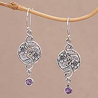 Amethyst dangle earrings, 'Inflorescence' - Balinese Amethyst and Sterling Silver Floral Dangle Earrings
