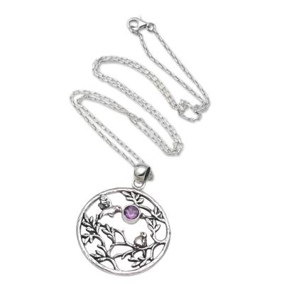Amethyst and Sterling Silver Hummingbird Pendant Necklace