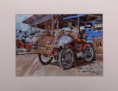 'Becak Motor' - Signed Watercolor Painting of a Rickshaw from Java
