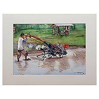 'Plowing Rice Field' - Signed Watercolor Painting of a Farmer from Java