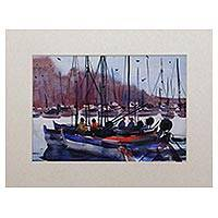 'Fisherman Boats' - Signed Impressionist Painting of Boats from Java