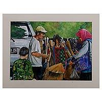 'Broom Salesman' - Signed Watercolor Painting of a Broom Salesman from Java