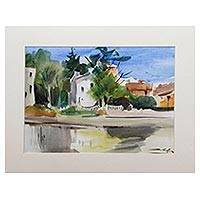 'Lake Reflection' - Signed Watercolor Cityscape Painting from Java