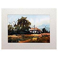 'Homes on the Field' - Signed Watercolor Landscape Painting from Java