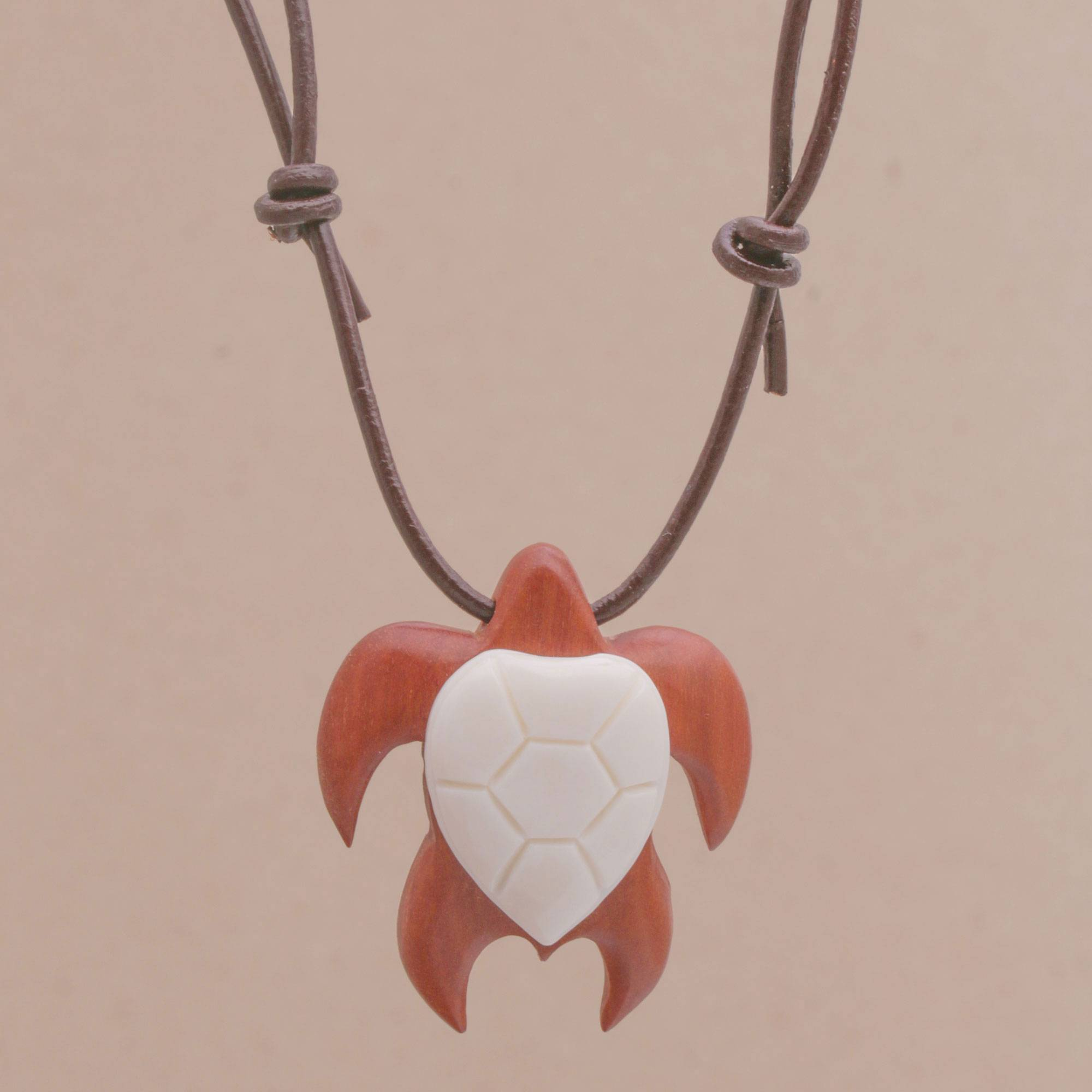 Unicef Market Sawo Wood And Bone Turtle Necklace From Bali Bali Turtle