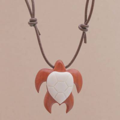 Bone and wood pendant necklace, 'Bali Turtle' - Sawo Wood and Bone Turtle Necklace from Bali