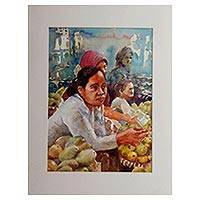 'Fruit Saleswoman' - Signed Watercolor Painting of Market Vendors from Java