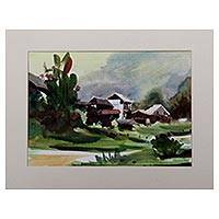 'Green Village' - Signed Impressionist Landscape Painting from Java